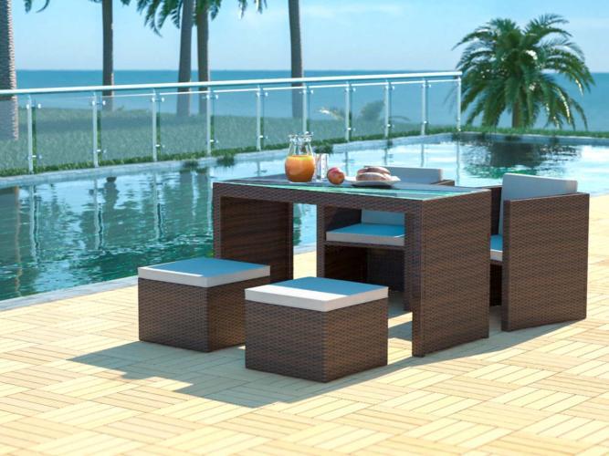 Abelando - Rattan Dining Table Set