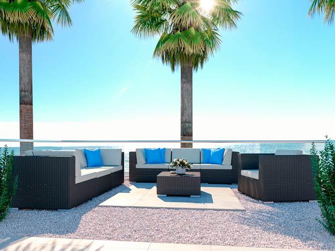 Athena L - Rattan Couch Set