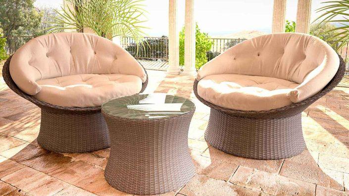 Calipso - Rattan Swivel Chair Set