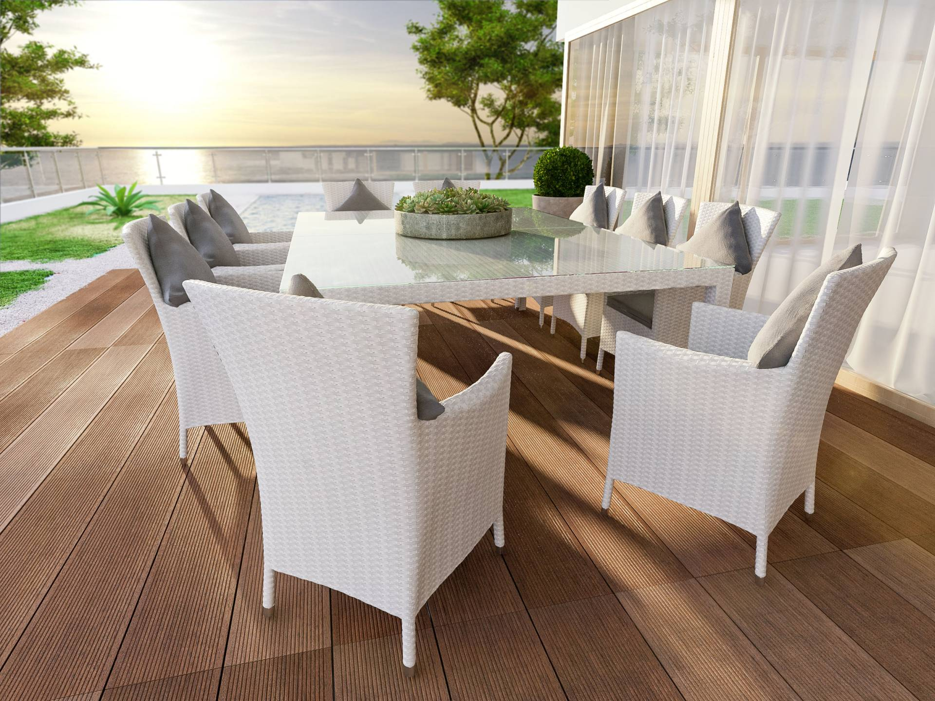 Rattan Dining Table Set Ceres Max