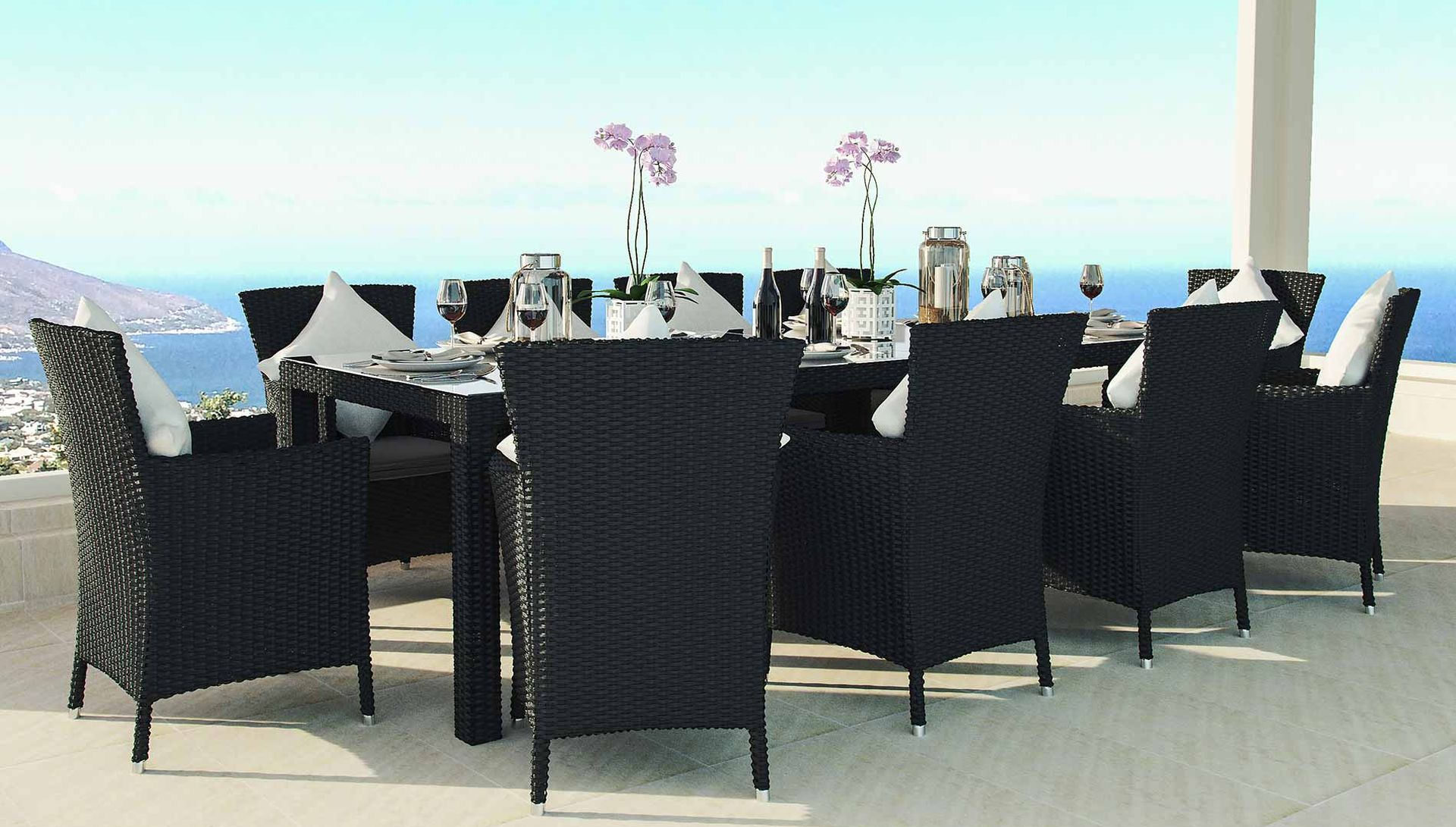 Rattan Dining Table Set Ceres XXL