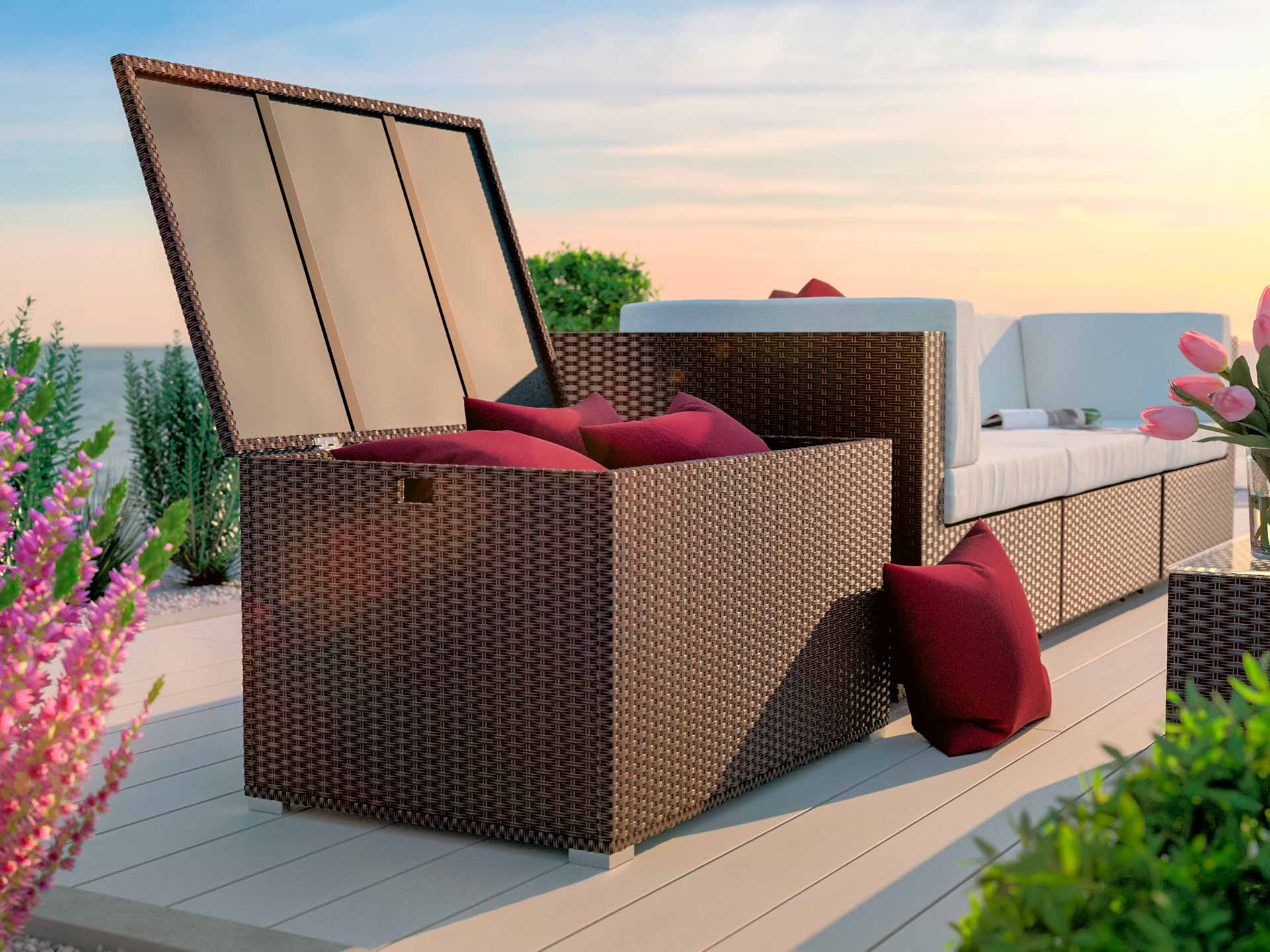 rattan storage box with weather-proof cover Corlicante S