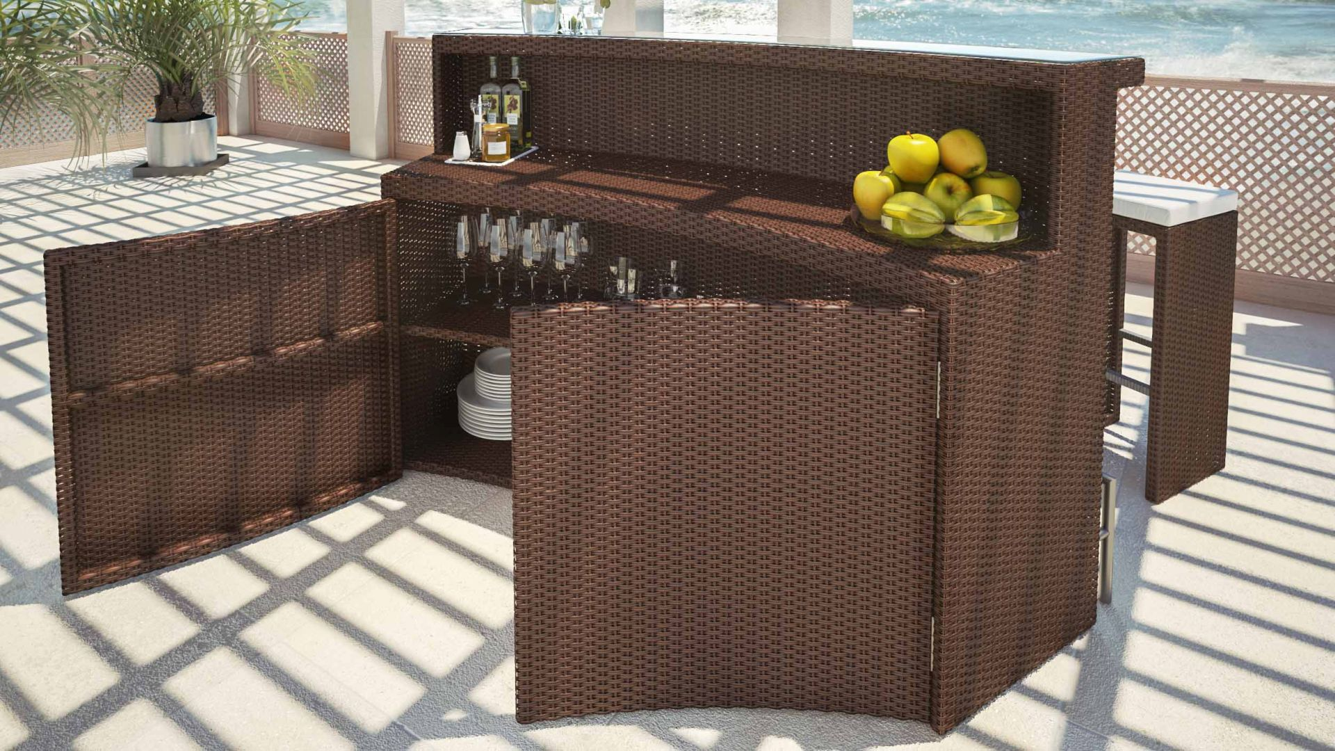artelia rattan bar set flamario. Black Bedroom Furniture Sets. Home Design Ideas