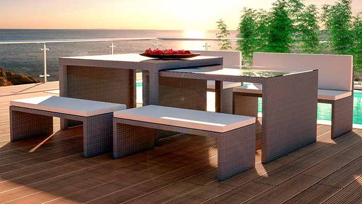 Flamax - Rattan Bench Set