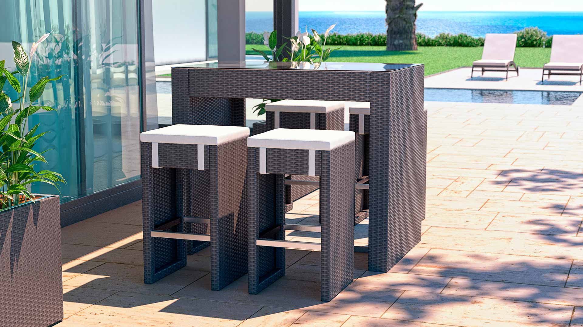 Rattan Bar Set Flamingo S