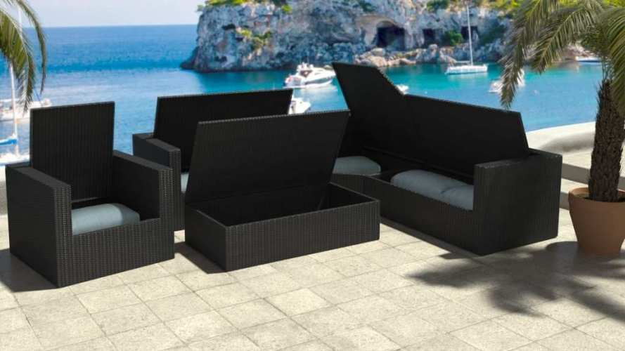 artelia outdoor rattan corner sofa set with clever storage space limia. Black Bedroom Furniture Sets. Home Design Ideas