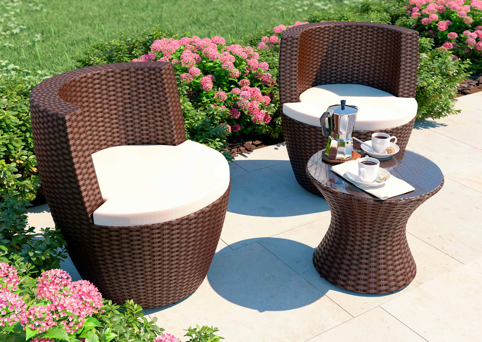 artelia 3 piece stackable rattan garden furnitue set ticino