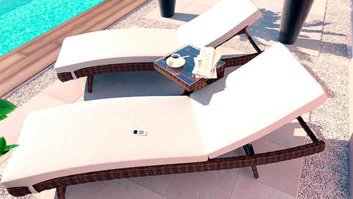 Ulli L - 2 loungers with side table
